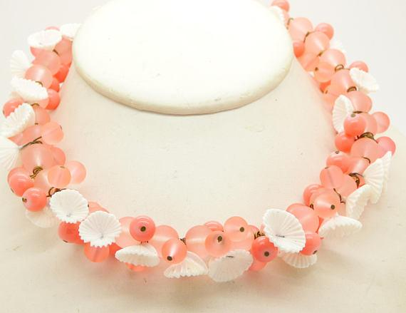 Peach Glass Beads and White Flowers Necklace - Vintage Lane Jewelry