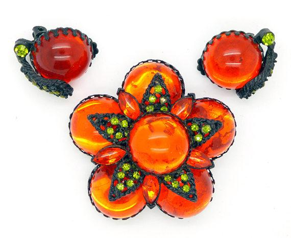 Selro Selini Orange Floral Brooch Clip Earring Demi Parure - Vintage Lane Jewelry