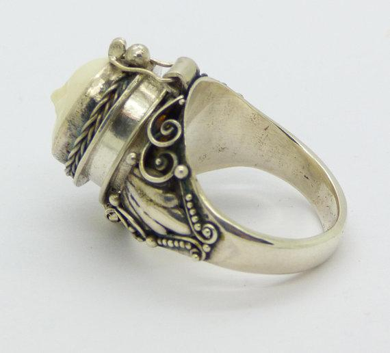 Balinese Bone Sterling Silver 925 Poison Ring Pill Box Ring Size 8