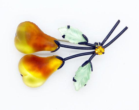 Selro Selini Orange Floral Brooch Clip Earring Demi Parure