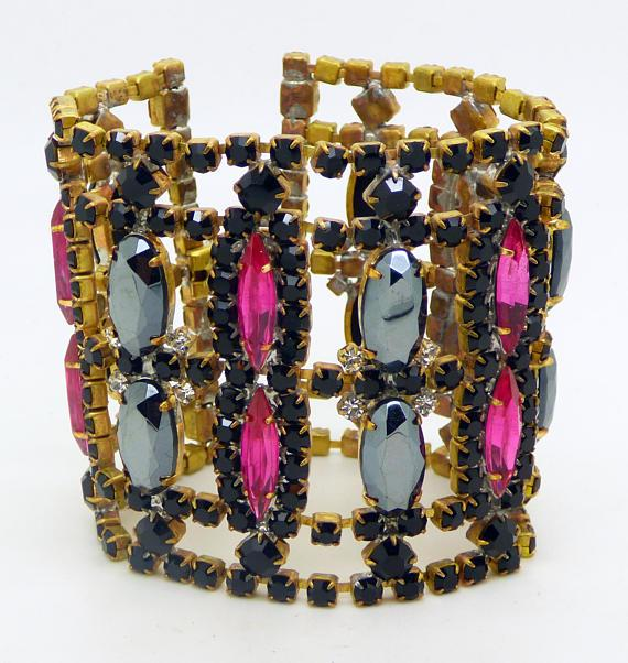 Czech Glass Husar D Pink and Black Rhinestone Wide Bracelet - Vintage Lane Jewelry