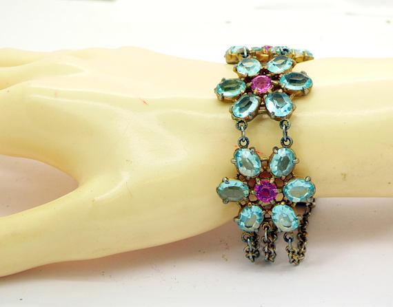 Pink and Blue Open Back Crystal Flower Bracelet - Vintage Lane Jewelry