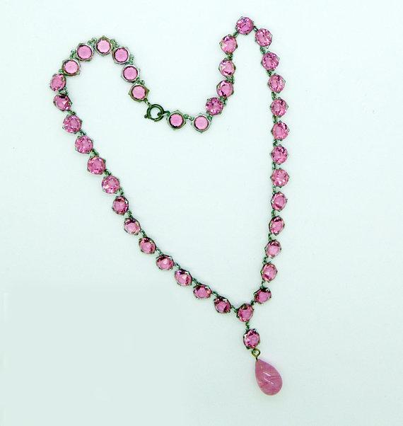 Vintage Art Deco Open Back Pink Crystal Dropper Choker Necklace - Vintage Lane Jewelry