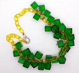 Bakelite Green Prystal Cubes Celluloid Chain Drop Necklace - Vintage Lane Jewelry