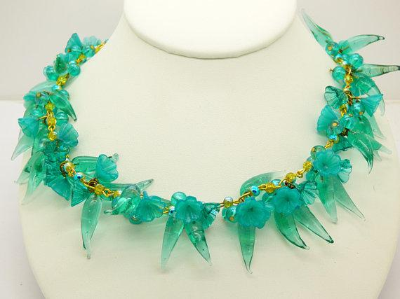 Teal Glass Beaded Flower Charm Necklace - Vintage Lane Jewelry