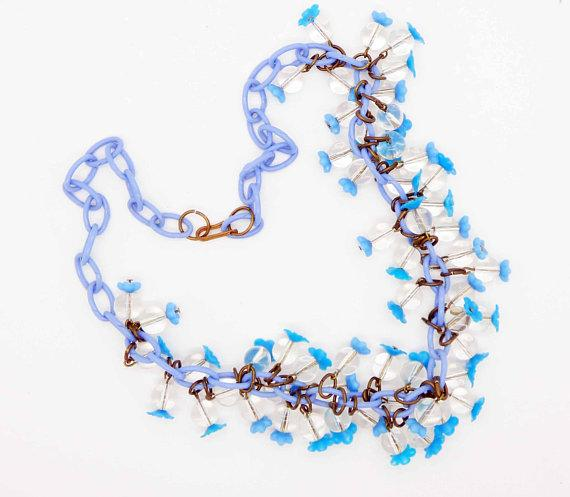 Vintage Blue Celluloid and Clear Glass Bead Necklace - Vintage Lane Jewelry