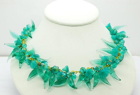Blue, Green and Aurora Borealis Rhinestone Flower Vintage Necklace