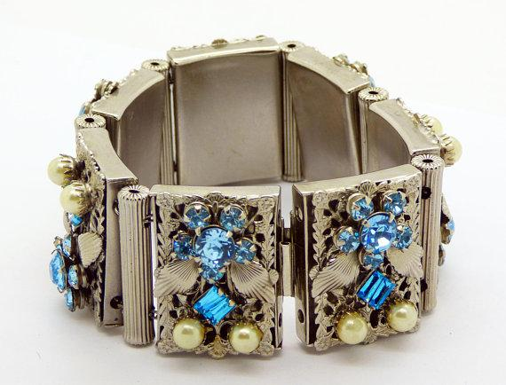 Vintage Leru Silver Tone Blue Rhinestone and Faux Pearl Panel Bracelet and Clip Earrings - Vintage Lane Jewelry
