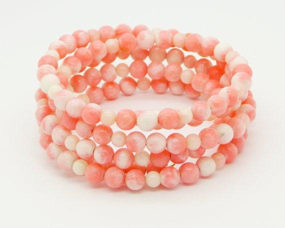 Vintage Angel Skin Coral Beaded wrap Bracelet - Vintage Lane Jewelry