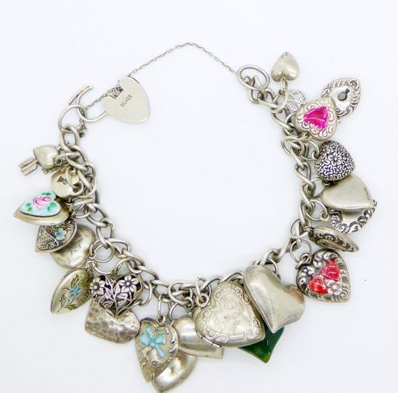 Vintage Puffy Hearts Sterling Silver Charm Bracelet - Vintage Lane Jewelry