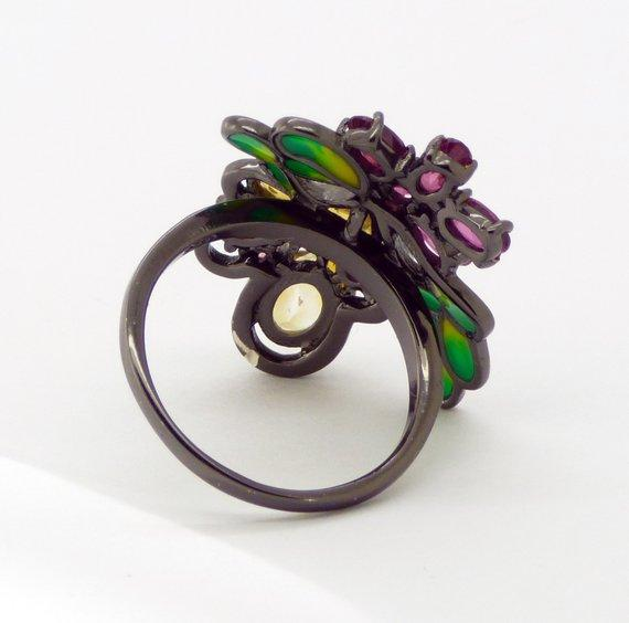 Citrine, Rhodolite, Garnet Enamel Black Rhodium over Sterling Silver Bee Ring - Vintage Lane Jewelry