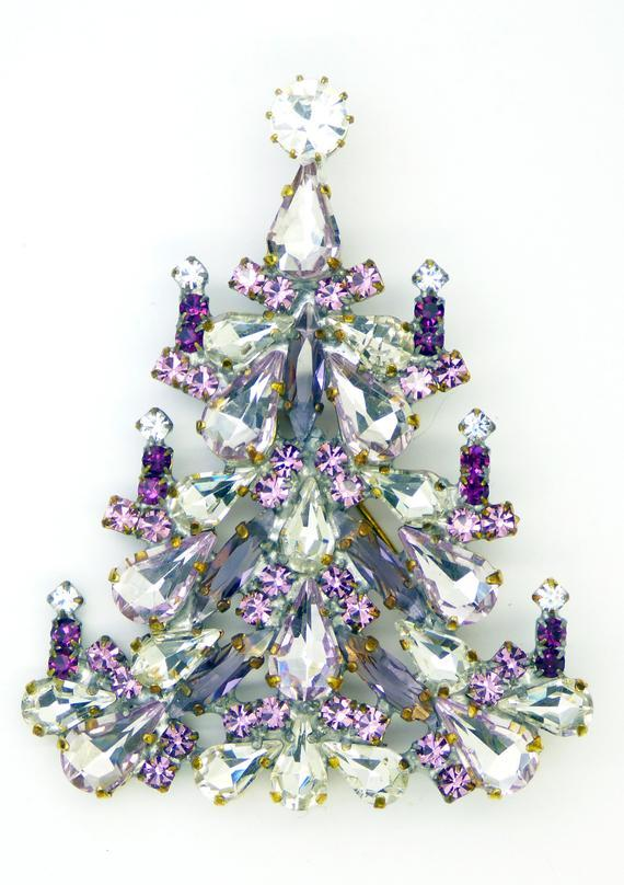 Czech Glass Purple and Clear Christmas Tree Brooch, Vintage Rhinestones Xmas Tree Pin - Vintage Lane Jewelry