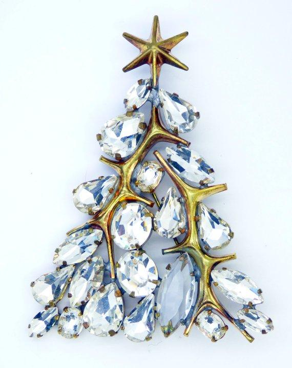 Clear Rhinestone Christmas Tree Pin with Gold Star - Vintage Lane Jewelry