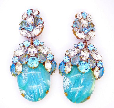 Czech Glass Sky Blue Cabochon Rhinestone Fringe Necklace & matching pierced style earrings