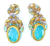 Czech Glass Massive Dangling Clip Earrings Aqua Blue and Clear Stones - Vintage Lane Jewelry