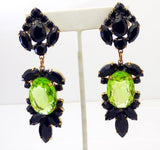 Large Czech Glass Dangling Clip Earrings Black and Pear Green - Vintage Lane Jewelry