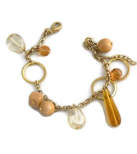 Czech Glass Charm Bracelet - Vintage Lane Jewelry