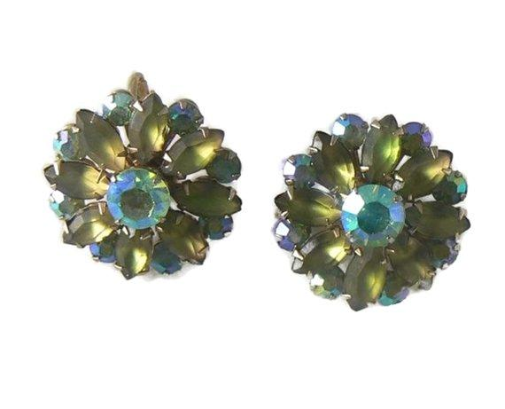 Coro Frosted Green Marquis & Aurora Borealis Earrings - Vintage Lane Jewelry