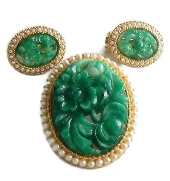 Hobe Poured Green Glass Seed Pearl Demi Parure - Vintage Lane Jewelry