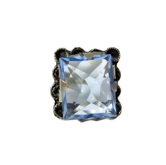 Vintage Mexican Aquamarine Glass Sterling Silver 925, Ring Size 7 - Vintage Lane Jewelry