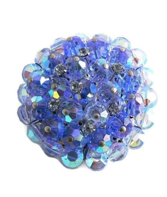 Vintage Blue Crystal Rhinestone Brooch - Vintage Lane Jewelry