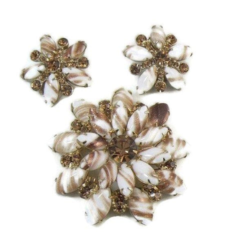 Shades of Gray Enamel Flower Lot, 5 pins, 1 Clip Earrings, Flower Brooches