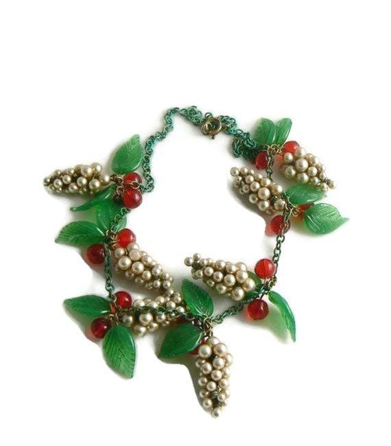 Early Miriam Haskell Glass Pearl Clusters, Red Glass Berries and Leaves Necklace - Vintage Lane Jewelry