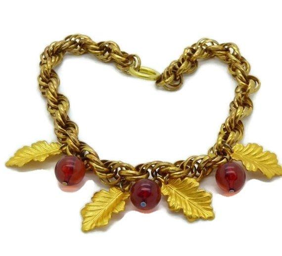 Vintage 1940's Translucent Cherry Red Bakelite Bead Leaf Dangle Necklace - Vintage Lane Jewelry