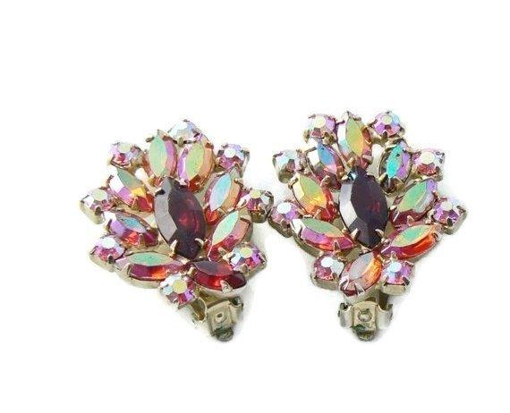 Vintage Signed Garne Red And Pink Ab Rhinestone Earrings - Vintage Lane Jewelry