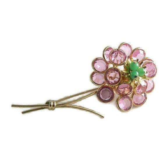 Corocraft bezel set pink crystal flower pin - Vintage Lane Jewelry