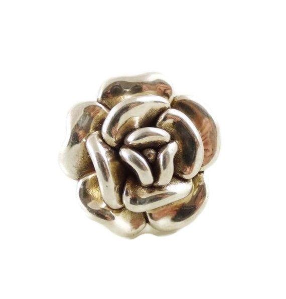 Sterling silver 925 electroform puffy flower ring - Vintage Lane Jewelry