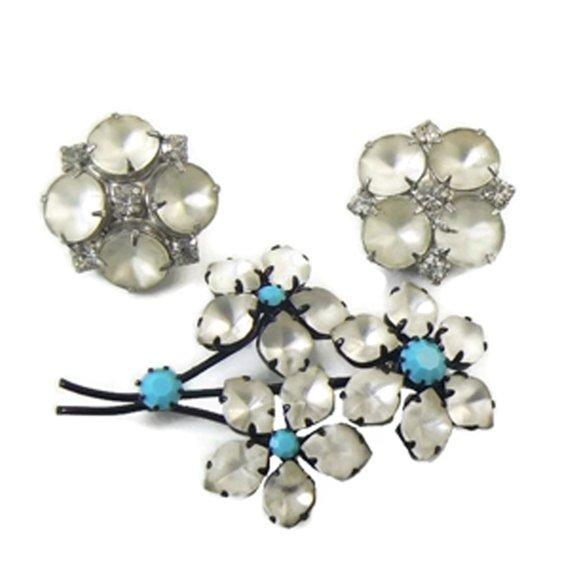 Austria Signed White Frosted Glass and Turquoise stone Japanned Flower Brooch, Earrings - Vintage Lane Jewelry