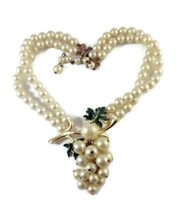 Vintage Signed Coro Pearl Grape Cluster Dangle Enamel Leaf Bib Necklace - Vintage Lane Jewelry