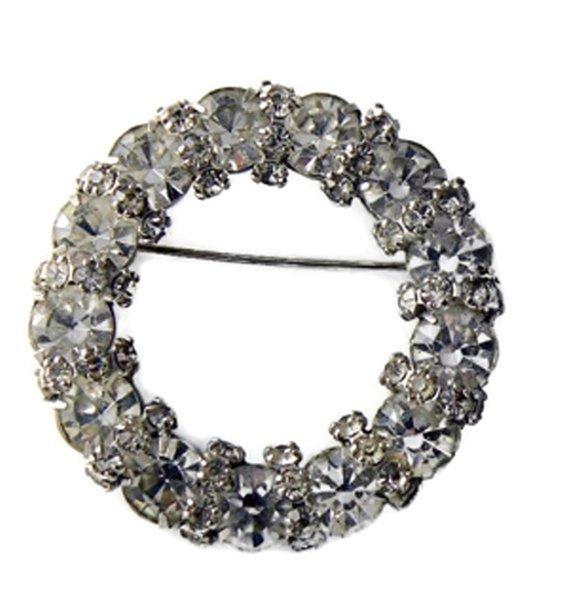 Vintage Signed Joseph Warner Rhinestone Wreath Brooch - Vintage Lane Jewelry