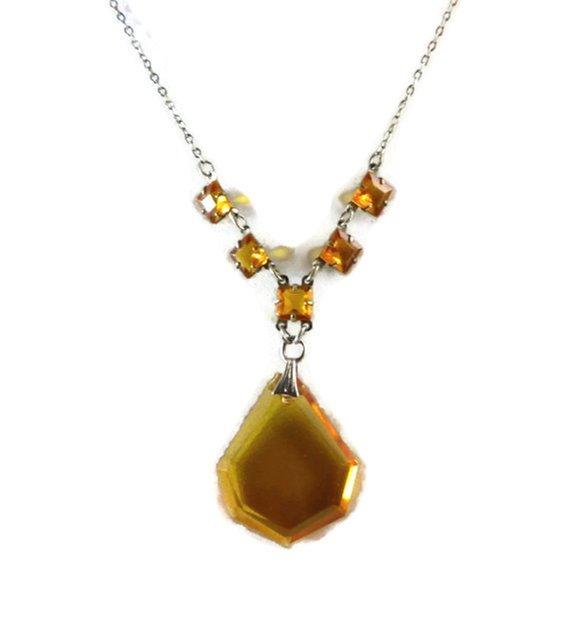 Czech glass amber necklace has prong set, open back, faceted glass squares - Vintage Lane Jewelry