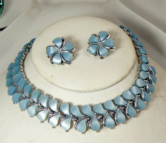 Vintage Kramer Baby Blue Thermoset Choker and Clip Earring Set - Vintage Lane Jewelry