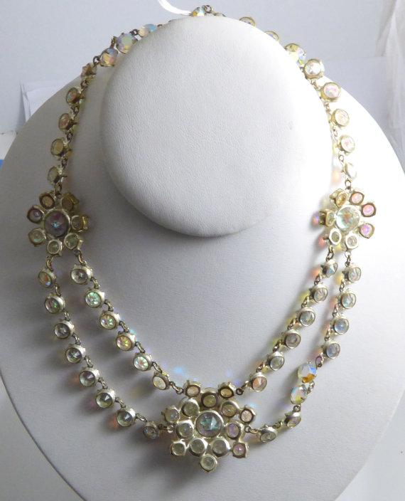 Vintage Borealis Crystal 2 Strand Flower Swag Necklace - Vintage Lane Jewelry