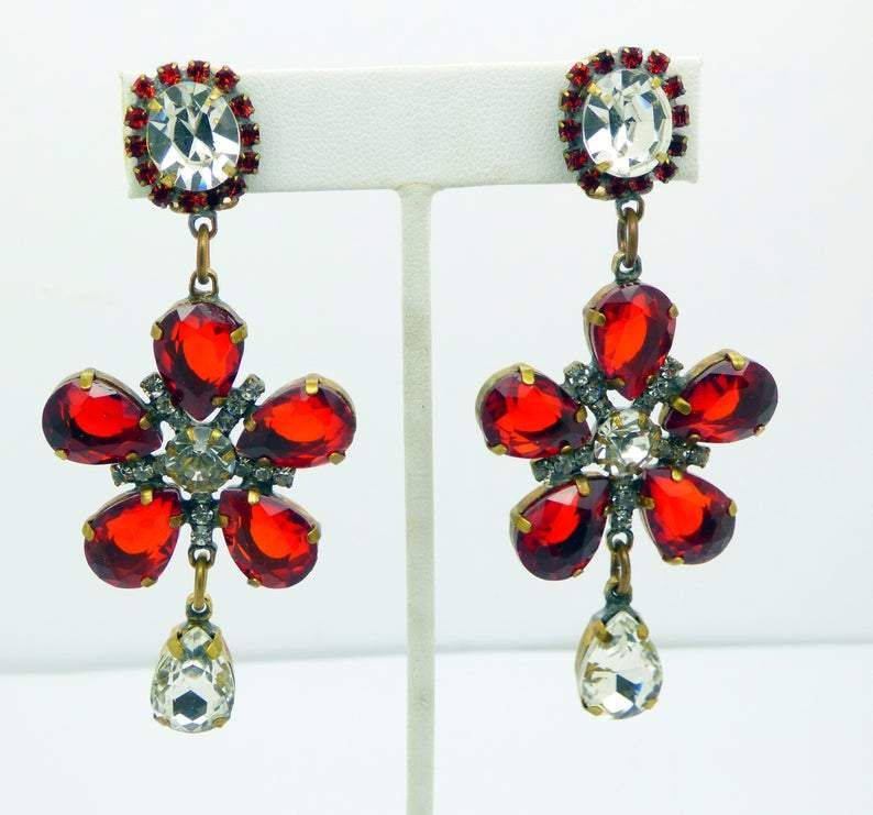 Red Flower Dangle Czech Glass Clip Earrings - Vintage Lane Jewelry