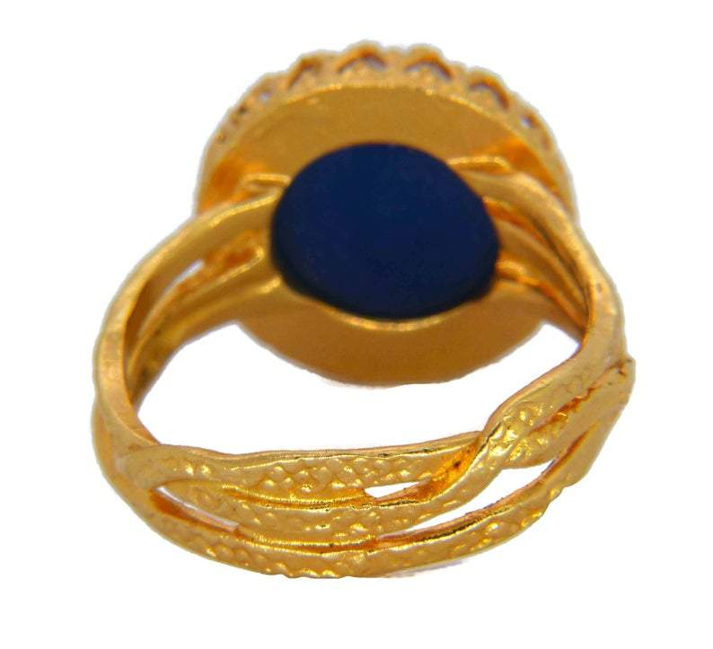 14mm 24K Gold Plated Brass Wire Crown Bezel Mood Ring - Vintage Lane Jewelry