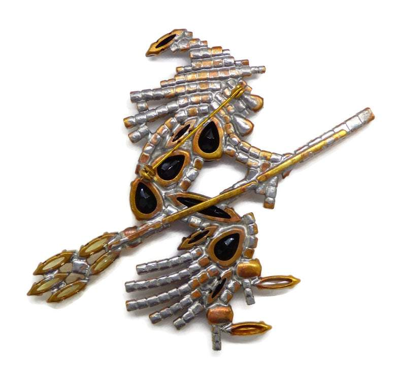 Huge Czech Rhinestone Witch Halloween Holiday Brooch - Vintage Lane Jewelry