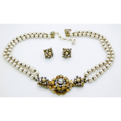 Vintage Saphiret and AB Rhinestone Necklace and Clip Earrings
