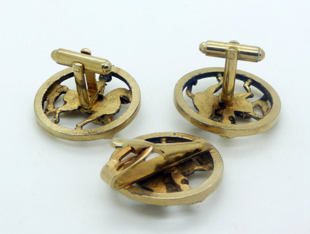 Antique brass Knight Jousting Cufflinks, Mens cuff links - Vintage Lane Jewelry