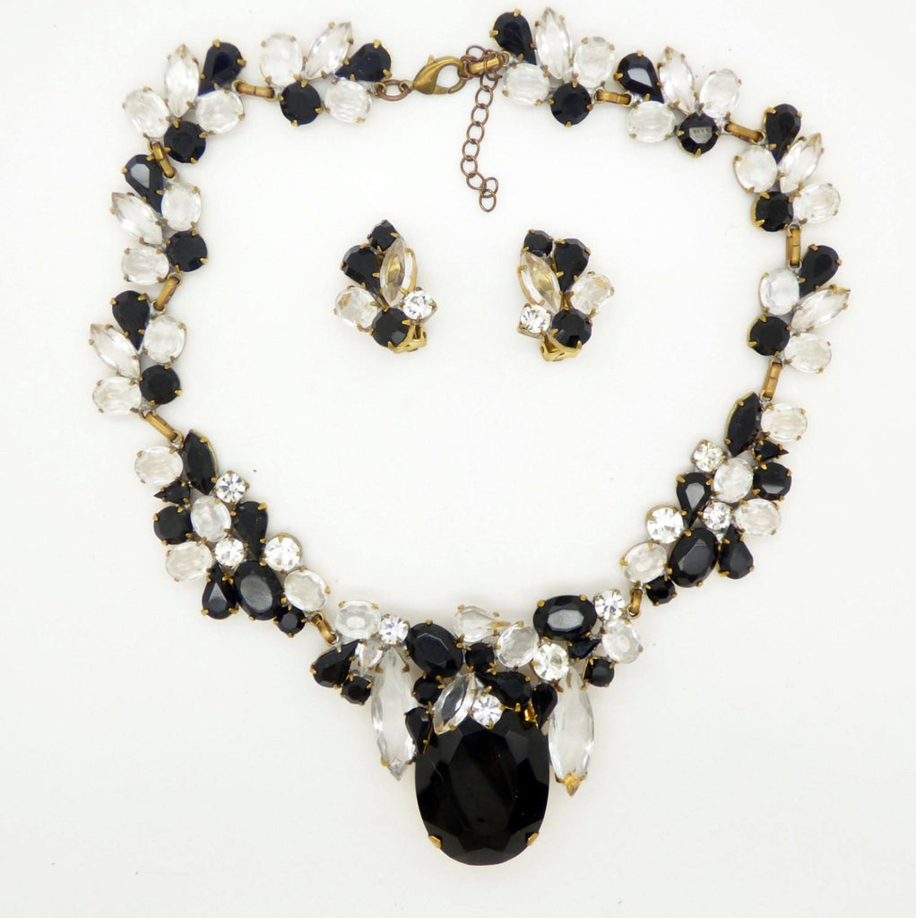 Black and Clear Czech Glass Statement Necklace ad Clip Earrings - Vintage Lane Jewelry