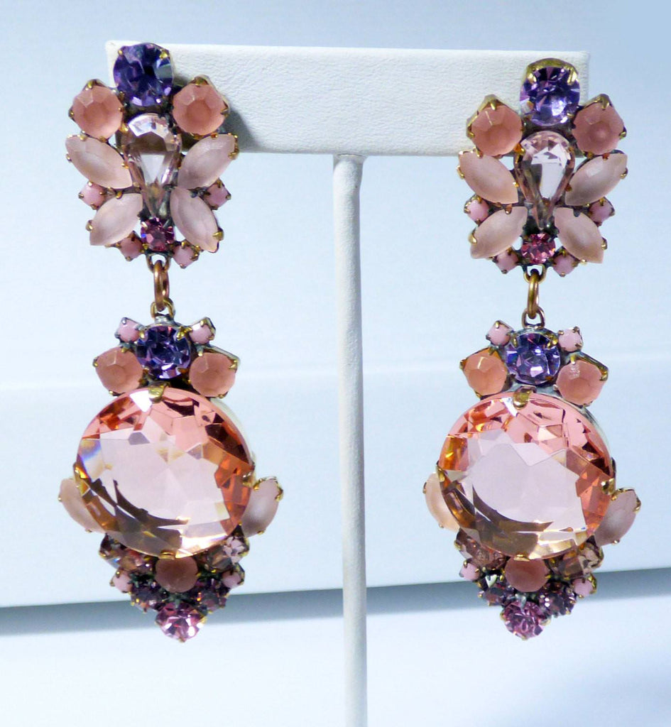 Czech Glass Peach and Lavender Dangle Pierced Style Earrings, Rhinestone, open-back - Vintage Lane Jewelry