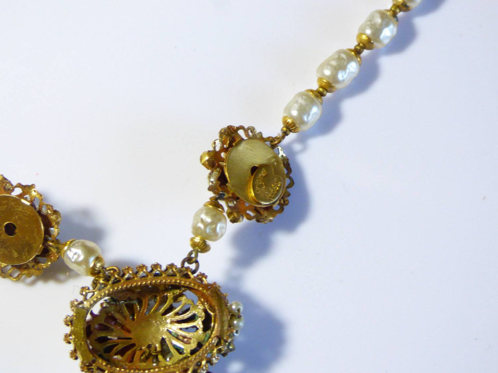 Original By Robert Glass Pearl, Crystal Montees Brushed Gold Necklace and Earrings - Vintage Lane Jewelry