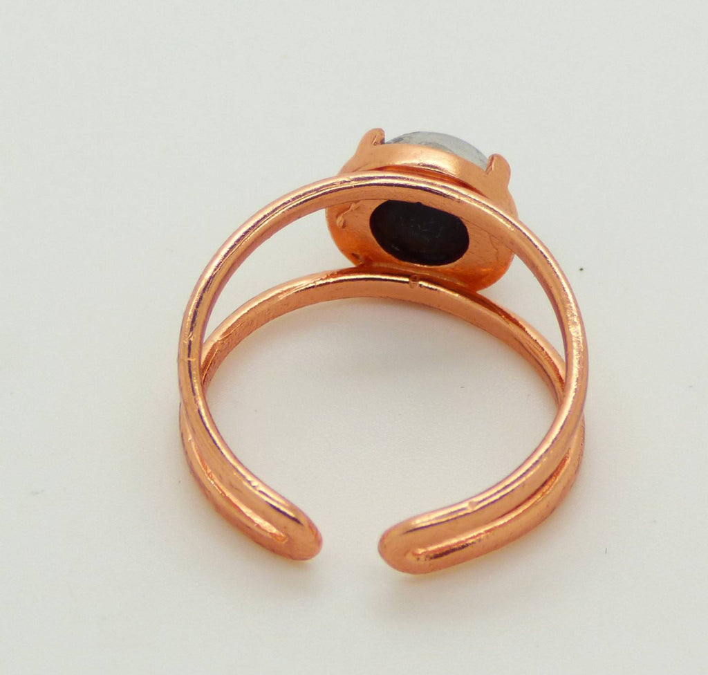 Round 8mm Mood Ring Copper Plated Brass Setting, Adjustable - Vintage Lane Jewelry