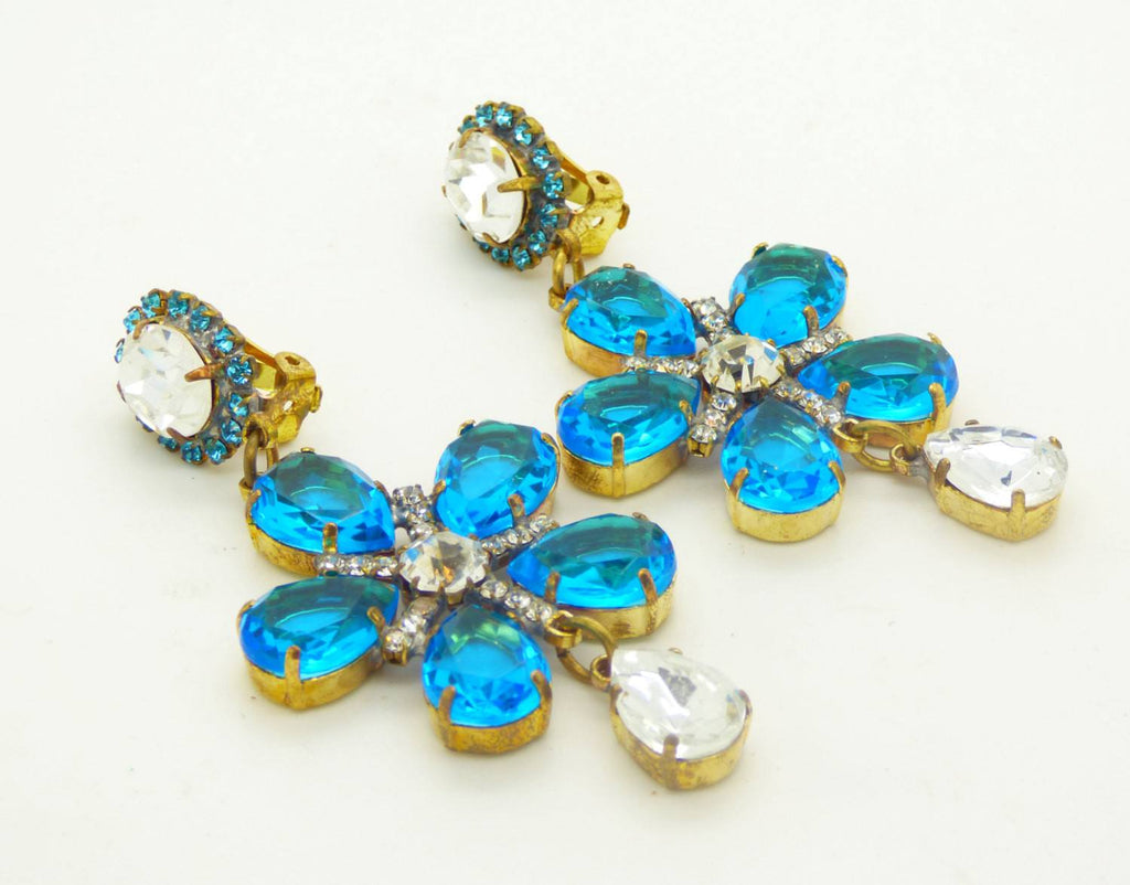 Aqua Blue Flower Dangle Czech Glass Clip Earrings - Vintage Lane Jewelry