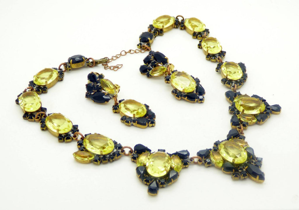 Black and Yellow Czech Glass Necklace, Clip Earring Set - Vintage Lane Jewelry