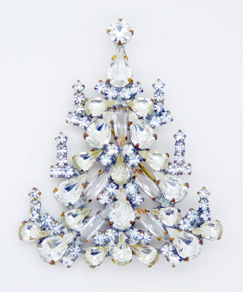 Clear Rhinestone Clear Glass Large Christmas Tree Brooch, - Vintage Lane Jewelry