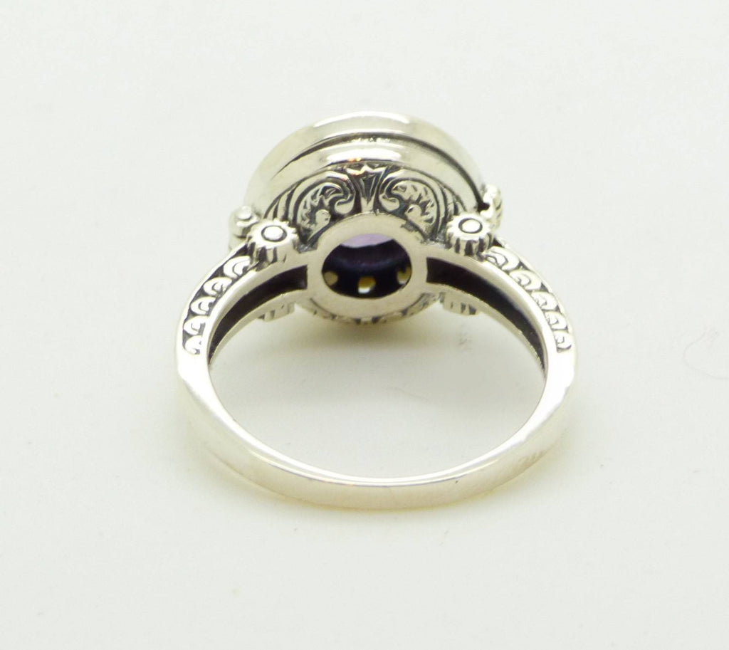 Amethyst and Pearl Sterling Silver Art Deco Poison Ring, Size 8 - Vintage Lane Jewelry
